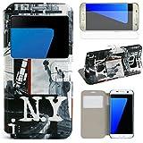 hcheg Étui à rabat en cuir synthétique motif New York (# 2) Portefeuille pour Samsung Galaxy S7bord Folio Housse avec Support pour fenêtre Coque de protection avec film de protection d'écran en verre trempé