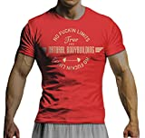 net-shirts NO FUCKIN LIMITS - NATURAL BODY BUILDING T-Shirt Motivation Mode Fitness Bodybuilding Crossfit Beast Gym , Größe M, rot