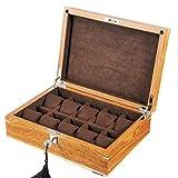 10 Slot Holz Uhrenbox Gehäuse mit abschließbarem Metallverschluss-Glasaufsatz-Display zur Aufbewahrung von Schmuck