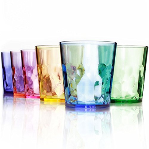 SCANDINOVIA Premium Quality Coloured 400ml Drinking Glasses - Set of 6 Cups - Unbreakable Tritan Plastic - BPA Free - Made in Japan - Stackable and Dishwasher-Safe Farbige Gläser