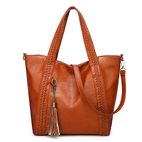 Totes Damen Geldbörsen Handtaschen Damen Designer Satchel Tote Bag Schultertasche PU-Leder JFCUICAN (Color : Orange, Size : Onesize) -