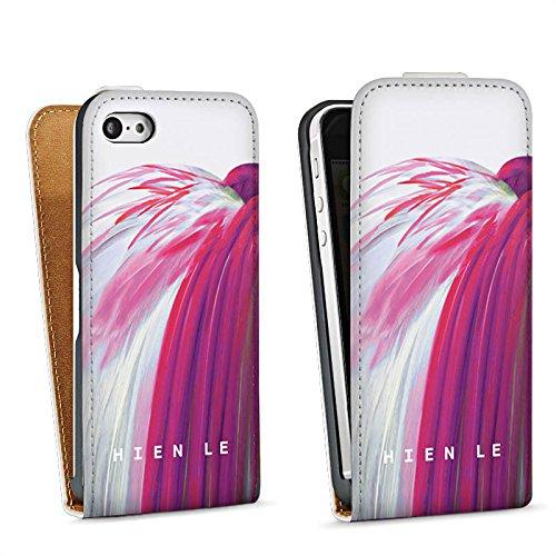 Apple iPhone 5s Housse Étui Protection Coque HIEN LE Oiseau Fashion Sac Downflip blanc