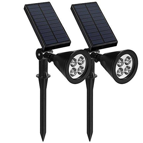Solarleuchten Garten, Solarleuchten Außen, 4LED 200 LM Spot light, Auto-on/off Lichtsensors mit 3 Lichtmodus, 180°Gedreht Wasserdicht Solarlampen für Garten, Balkon, Pool, Yard, Baum (2 Stücke)