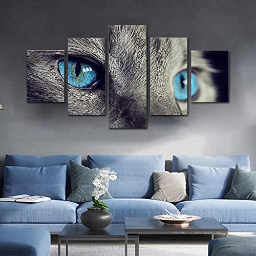 ACCEY HD Druck 5 Leinwand Kunst Malerei Graue Katze Mit Blauen Augen Wohnzimmer Dekoration Tier Spray Malerei Wandbild Wohnzimmer, Gerahmte 40X60 40X80 40X100 cm