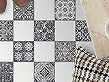 creatisto Sticker Bodenfliesen | Selbstklebende Bodenfliesenfolie Balkonfolie Dekorfolie-Boden Badgestaltung | 15x15 cm Muster Ornament Black n White - 9 Stück