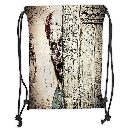 Icndpshorts Zombie Decor,Dead Man in Abandoned Old House Hell Mystery Blood Vampire Artful Design Decorative,Jade Green Cream Soft Satin,5 Liter Capacity,Adjustable S