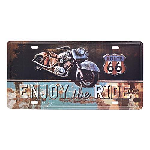 Alvéa Plaque Metallique Vintage Biker Route 66 USA,Vrai Plaque Vintage en Métal pour décoration intérieur, Chambre, Salon, café, Bar, Pub, Cuisine, Décoration Mural Vintage. (Enjoy The Ride)