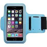 COOSA Smartphone brazal de los deportes y la titular de la clave para Apple Iphone 6 Plus y otros similares Tamaño teléfonos inteligentes, con la correa de velcro ajustable para correr, caminar, ciclismo, Una Buena Condición, etc. (azul claro)