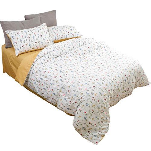 Anmou Kleine Blumen + Welle Punkt Erfrischenden Sommer Baumwolle Männer Und Frauen Baumwolle Bett Vier Sätze Von Bettwäsche@Blume_1,2 M (4 Fuß) Bett - Blume-bett-satz