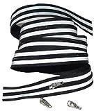 Endlos-Reißverschluß, reflektierend, schwarz, Reflektor, Zipper, Meterware, 1 Meter