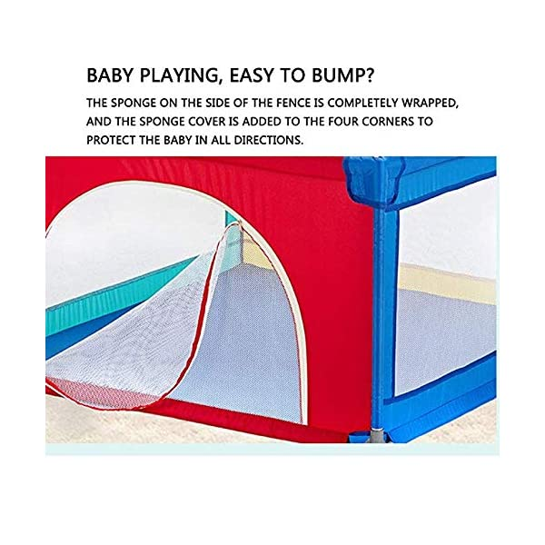 TOY Child Playpen, Kids Activity Center, Kids Safety Play Center Yard, Home Indoor Fence, Anti-Fall Play Pen, Fabric Indoor Child Playards, Anti-Skid,120 * 120cm TOY ◆Liberate Mom's Hands: Effectively help your child explore the world of perception, keep your child away from harm, and mothers can free their hands to do their own things.(Note: The package has only 1x children's fence.) ◆Large Space Design: 120x120cm, 120x150cm, 150x150cm, 150x190cm, 180x190cm, 200x250cm (6 sizes, available for you to choose from). Please refer to the dimension drawing for details. It provides a safe space for your child to play so that your little one could move around freely. ◆Spacious Area:The height of the fence is long enough for the child to stand and walk while the area inside the yard is plentiful for them to explore around. Make it fun for children to play and learn with enough room for all baby's essentials 5