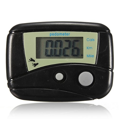 Buyincoins-LCD-Run-Step-Pedometer-Two-colors-black-and-white-for-choice-Walking-Distance-Calorie-Counter