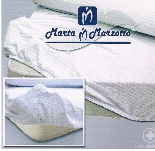 Marta marzotto jersey coprimaterasso, cotone, marrone, rosso, 175x200x0.4 cm