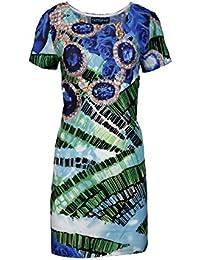 Damen Kurzarm-Kleid mit Multicolor-Muster-Druck & Strass