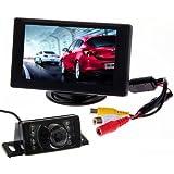 "BW Car Parking System Kits - 4.3 ""Color TFT LCD Car Rearview Monitor + 7 Leds IR visión nocturna del coche de visión trasera reversa de inversión de cámara de vídeo impermeable"