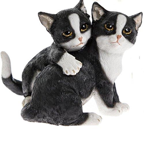 Lets Play - Adorno para gatos gemelos, color blanco y negro