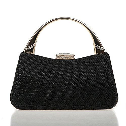 Nuovo mini strass vestito bag borsa di modo borsa banchetto serale sposa ( Colore : Silver ) Nero