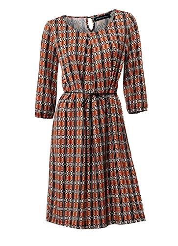 Patrizia Dini Damen Designer-Kleid, Orange-Bunt, Größe:42