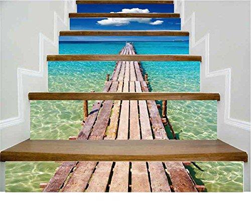 Longwei Treppe Aufkleber Tapete Meer Einzigen Brücke Dekoration 3D Abnehmbare DIY Stereo Aufkleber Wasserdicht Moderne HD Wasserdichte Treppe, Um Drei zu kaufen Bekommen Eins Frei (Wasserdicht Meeres Stereo)