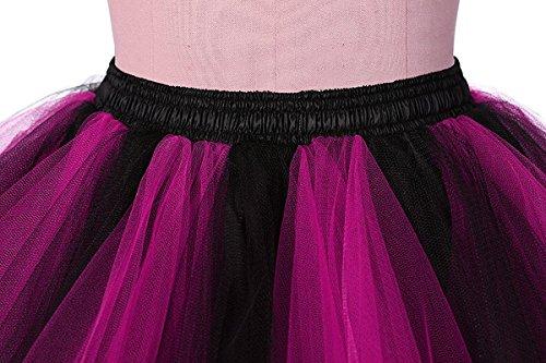 Honeystore Damen's Neuheiten Tutu Unterkleid Rock Ballet Petticoat Abschlussball Tanz Party Tutu Rock Abend Gelegenheit Zubehör Fuchsie und Schwarz