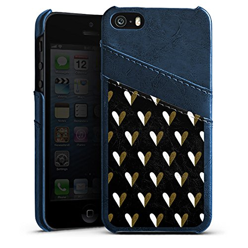 Apple iPhone 5 Housse Étui Silicone Coque Protection C½urs Or Motif Étui en cuir bleu marine
