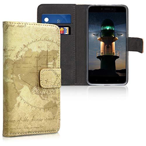 kwmobile Funda para Xiaomi Redmi 4A - Carcasa de [Cuero sintético] con diseño de mapamundi Vintage - Case con [Tarjetero]