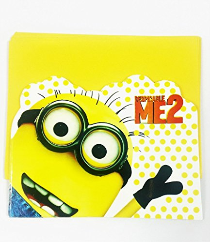 Evisha cartoon character Birthday Invitation Cards with Envelops,set of 20 Cards/Birthday minion Theme Party Supplies