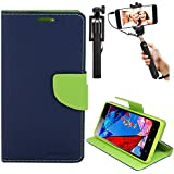 DMG Diary PU Leather Flip Cover Wallet Stand Case for Reliance LYF Wind 4 (Pebble Blue) + Selfie Stick Monopod with Aux (No Battery Needed)