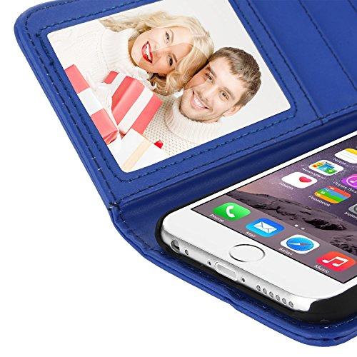 EnGive iPhone 6 Hülle (4.7 Zoll) Ledertasche Schutzhülle Case Tasche mit Standfunktion und Karte Halter (grün) Blau