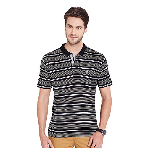 Duke Regular Fit Striper T-shirt For Men Polo Neck 100% Organic Mercerised Cotton Material Black Color