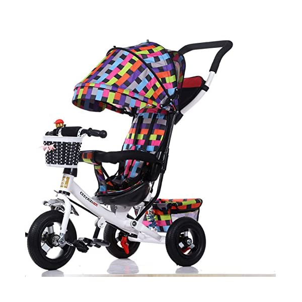 GSDZSY - Children Tricycle Stroller,4 In1 Foldable With Removable Push Handle Bar,Rubber Wheel,Adjustable Awning, 2-6 Years,Multi-colored GSDZSY  1