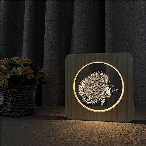 Lampada da tavolo in legno acrilico di pesce di mare oceano luce notturna lampada interruttore incisione controllo per amico fan regalo
