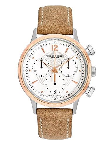 Abeler & Söhne fabricado en Alemania–Reloj de pulsera para mujer con cronógrafo, cristal de zafiro y correa de piel as3306
