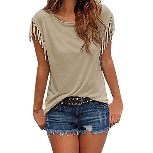 Hevoiok Damen Kurzarm-Shirt Oberteile Sexy Quaste Bluse Neu Frühling Sommer T Shirt Frauen Casual Locker Tops (Khaki, M)
