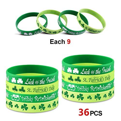 Howaf 36 Stücke St. Patrick's Day deko grün Kleeblatt Armband Damen Männer Kinder Händen Gummi Armbänder St. Patrick's Day Kostüm Zubehör Party Geschenke ()