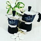 Original Bonbonniere für Hochzeit Jahrestag Espressokocher Moka Komödie Neapolitanische Totò de Filippo 2/4Tassen schwarz Brautpaar Caffettiera 4 Tazze