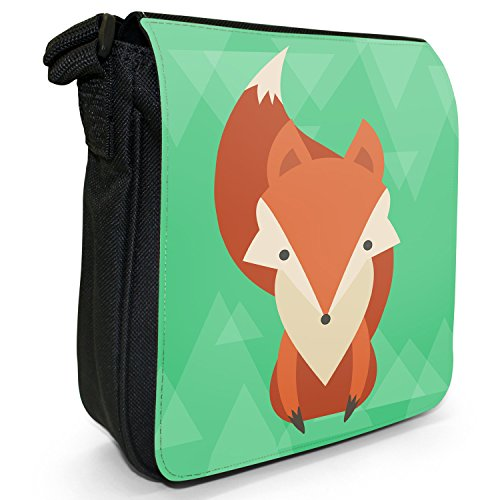 Animali, design moderno, colore: nero, Borsa a tracolla in tela, taglia: S Bushy Tail Fabulous Fox