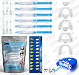 KAV PLUS 6 Gel Teeth Whitening PRO Home Kit LED Lazer Light, X4 Mouth Trays + Free Teeth Shade - Professional Teeth Bleach Whitening KIT