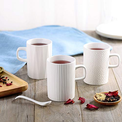 ZENS Lifestyle Lot de 3 Mug ou Tasse en Porcelaine, Ensemble de mug, Tasse café Style scandinave, Mug Latte Blanc, 345ml chacun