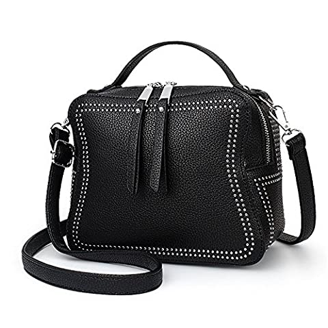 YAAGLE Gentle PU Double Layer Shoulder Bag Hand Bag Cross-body Bag With Rivets For Women and Girls