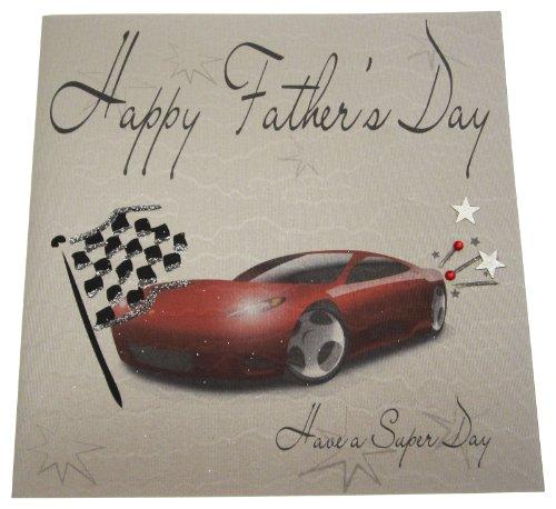 Bianco cards cotone - biglietto di auguri festa del papà (fatto a mano), disegno macchina da corsa con il testo