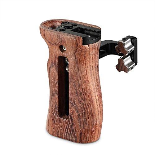 SMALLRIG Universal Wooden Handle mit Threaded Cold Shoe Holder Verstellbarer Griff für Kamera Cage - 2093 (Cage Griff)