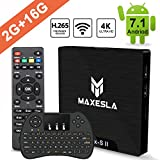 Smart TV BOX Android 7.1 - Maxesla MAX-S II Mini TV Box de 2GB RAM + 16GB ROM, 2018 Última CPU Amlogic S905W, WIFI 2.4GHz, Doble USB, H.265, HDMI & AV, 4K UHD Media Player con Mini Teclado Inalámbrico