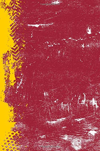 Cherry Red And Yellow: (6 x 9 Dot Grid) Blank Journal Grunge School Color Notebook