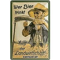 Nostalgic-Art 22198 Open Bar - Wer Bier trinkt hilft der Landwirtschaft, Blechschild 20x30 cm