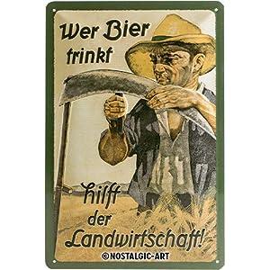 Nostalgic Art Retro Blechschild Wer Bier trinkt hilft der Landwirtschaft-Geschenk-Idee als Bar-Zubehör, aus Metall…