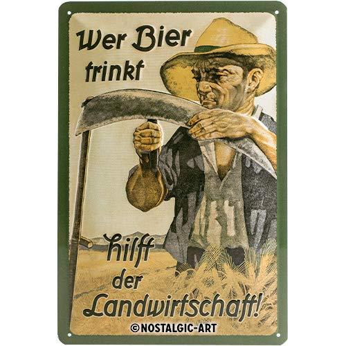 Nostalgic-Art 22198 Open Bar - Wer Bier trinkt hilft der Landwirtschaft, Blechschild 20x30 cm -