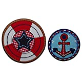 5X5Cm Anclaje Lifebuoy 7X7Cm Un sello circular muy colorido de estilo marinero con un Ancla roja central perfecto para personalizar prendas Sello con estrella central en forma de escudo en diferentes colores llamativo y atractivo