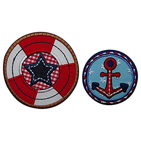 2 patches anchor 5x5cm lifebuoy 7x7 cm star blue red white checkered brown round large embroidery Hotfix Patches of fabric colored large patches for jeans rating Apparel Garment mending Baby Children mend Set embroidery Decoration patch material to iron on clothes cap hat jacket scarf neckerchief ceiling backpack Bags Gym bag flap pennant doorplate pillow shirt jeans skirt pants for personal gifts with baby child city club football sports names birth baptism birthday