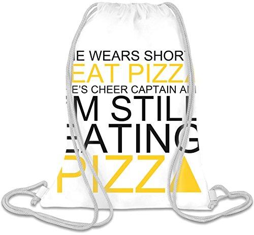 She Wears Shorts I Eat Pizza She's Cheer Captain Slogan Kordelzug Beutel (Shorts Cheer Retro)